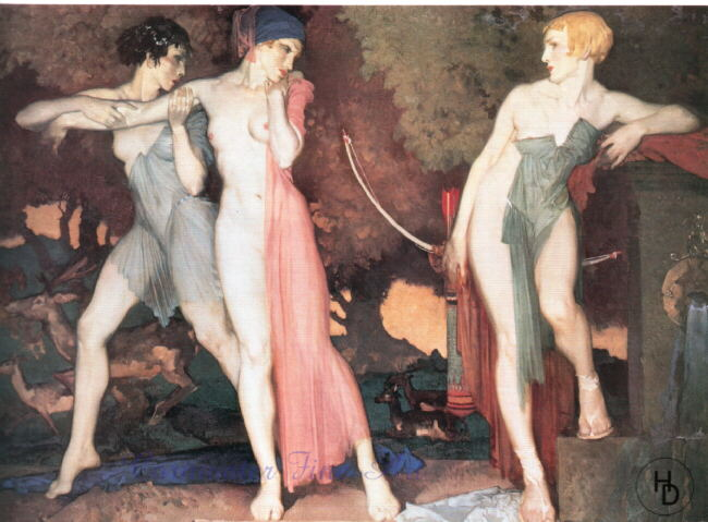 russell flint, artemis and chione, print