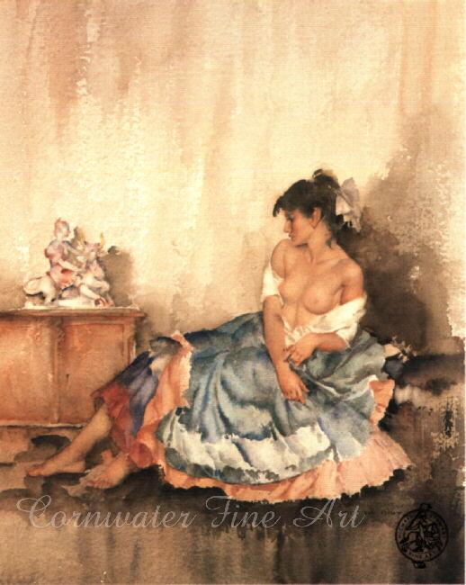 russell flint, cecilia contemplating Europa, print