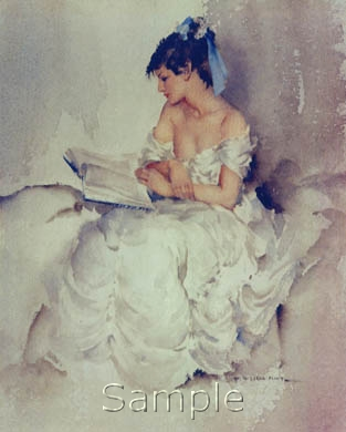 russell flint france, cecilia, reading more than shadows, print