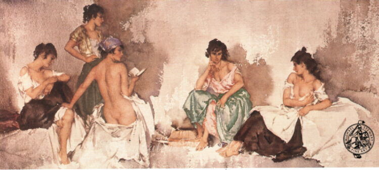 russell flint five studies of cecilia, print