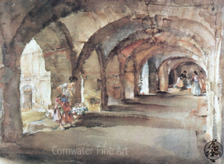 russell flint, flowers in the cloister, print