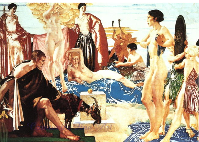 russell flint, judgement of Paris, print