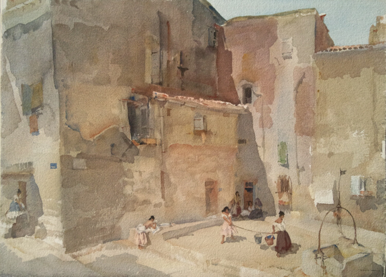 russell flint watercolour, france, languedoc, sunlit square