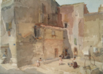 sir william russell flint Sunlit Square, Languedoc original watercolour painting